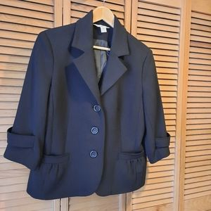 3/4 sleeve Black blazer with pockets